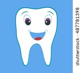 tooth  cartoon tooth. flat... | Shutterstock .eps vector #487781398