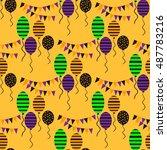 seamless pattern for halloween... | Shutterstock .eps vector #487783216