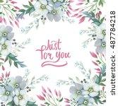 wildflower lily flower frame in ... | Shutterstock . vector #487784218