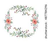 wildflower lily flower frame in ... | Shutterstock . vector #487784296