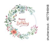 wildflower lily flower wreath... | Shutterstock . vector #487784848