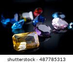 jewel gem on black shine color  ... | Shutterstock . vector #487785313
