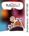 cartoon angry pumpkin and moon  ... | Shutterstock .eps vector #487787188