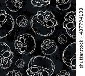 skull. seamless pattern.... | Shutterstock .eps vector #487794133