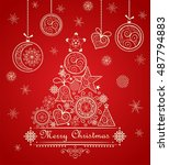 vintage greeting christmas red... | Shutterstock .eps vector #487794883