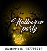 halloween background with... | Shutterstock .eps vector #487799314
