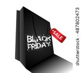 isolated black friday bag with... | Shutterstock .eps vector #487802473