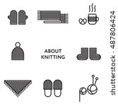 knitted clothing. set of flat... | Shutterstock .eps vector #487806424