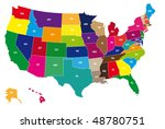 vector usa colors map with... | Shutterstock .eps vector #48780751