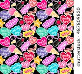 seamless pattern fashion... | Shutterstock .eps vector #487809820