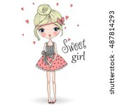 young  beautiful  cute  sweet... | Shutterstock .eps vector #487814293
