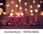 christmas decoration with...   Shutterstock . vector #487814836