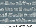 baltic houses pattern line... | Shutterstock .eps vector #487818688