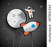 astronaut  rocket and moon on a ... | Shutterstock .eps vector #487831564