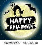 happy halloween hanwritten | Shutterstock .eps vector #487832050