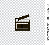 clapperboard icon vector  clip...