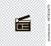 clapperboard icon vector  clip...
