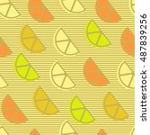 seamless pattern with lemon or... | Shutterstock .eps vector #487839256