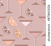 seamless pattern with lemon or... | Shutterstock .eps vector #487841026