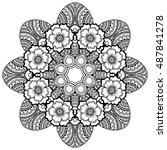 vector henna tatoo mandala....   Shutterstock .eps vector #487841278