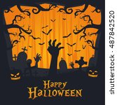 scary vintage happy halloween... | Shutterstock .eps vector #487842520