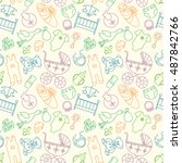 vector seamless pattern with... | Shutterstock .eps vector #487842766