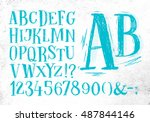 font pencil vintage alphabet... | Shutterstock .eps vector #487844146
