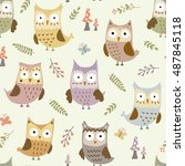 cute owls seamless pattern.... | Shutterstock .eps vector #487845118