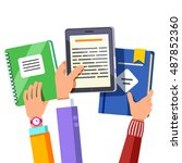 student kids hands holding up... | Shutterstock .eps vector #487852360