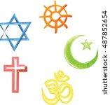 world religions symbols  ... | Shutterstock . vector #487852654
