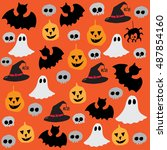 halloween background with bat ... | Shutterstock .eps vector #487854160