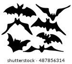 halloween creepy scary bat... | Shutterstock .eps vector #487856314