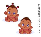 front african baby girl and... | Shutterstock .eps vector #487864429