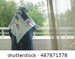 a muslim woman | Shutterstock . vector #487871578
