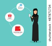 arab woman shopping online with ...   Shutterstock .eps vector #487871734