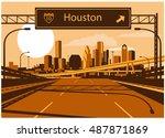 houston skyline | Shutterstock .eps vector #487871869