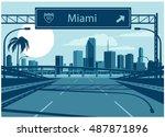 miami skyline | Shutterstock .eps vector #487871896