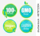 gmo free  100  natutal  vegan... | Shutterstock .eps vector #487872304