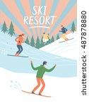 ski resort vintage poster.... | Shutterstock .eps vector #487878880