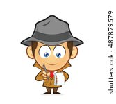 detective with a notepad and pen | Shutterstock .eps vector #487879579
