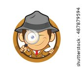 detective holding a magnifying... | Shutterstock .eps vector #487879594