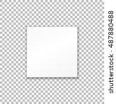 empty white paper plate. vector ... | Shutterstock .eps vector #487880488