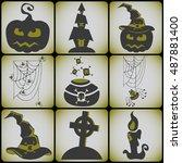 set 9 card halloween symbols.... | Shutterstock .eps vector #487881400