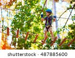 young boy passing the cable... | Shutterstock . vector #487885600