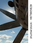 Small photo of airplane propeller on a blue sky background
