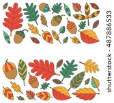 pattern with autumn leaves oak... | Shutterstock .eps vector #487886533
