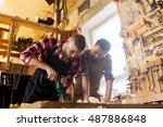 profession  carpentry  woodwork ... | Shutterstock . vector #487886848