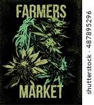 marijuana weed ganja vector... | Shutterstock .eps vector #487895296