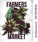 marijuana weed ganja vector... | Shutterstock .eps vector #487895896