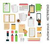 collection of vector notebooks... | Shutterstock .eps vector #487898560